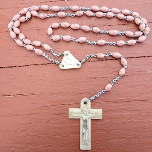 Pre-Owned Cotton Pink Rosary,Yes I know it's dirty